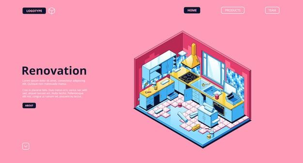 Página de destino isométrica de renovação, reparo de cozinha doméstica ou trabalhos de projeção, interior com eletrodomésticos, rolos de papel de parede, ladrilhos e móveis.
