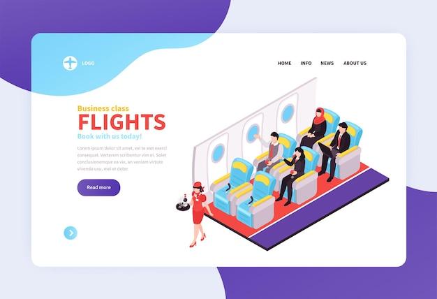 Página de destino isométrica de reserva de passagens aéreas com oferta de voos em classe executiva