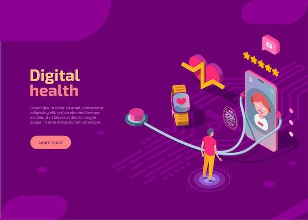 Página de destino isométrica de saúde digital.