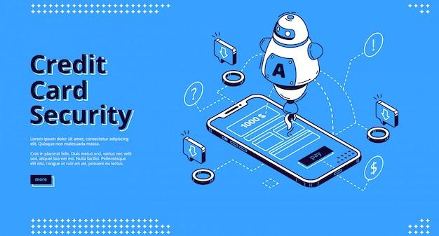 Página de destino isométrica de segurança de cartão de crédito, robô