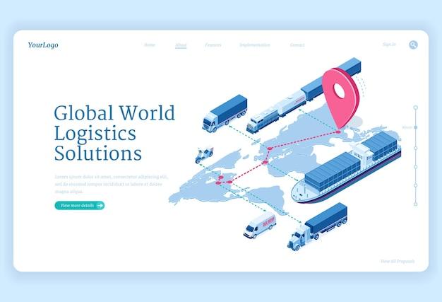 Página de destino isométrica de soluções de logística global