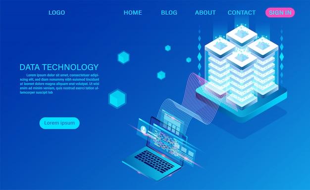 Página de destino isométrica de tecnologia de dados e processamento de big data