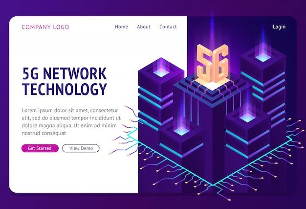 Página de destino isométrica de tecnologia de rede 5g.