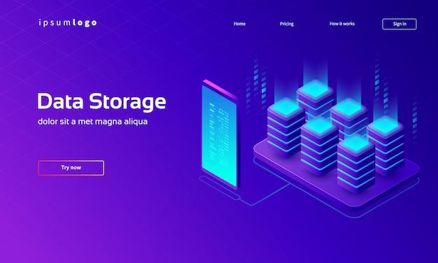 Página de destino isométrica de tecnologia digital, armazenamento de dados
