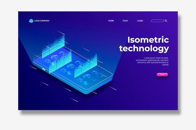 Página de destino isométrica de tecnologia