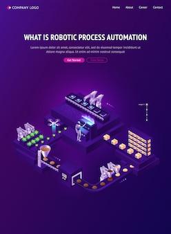 Página de destino isométrica de tecnologias de automação