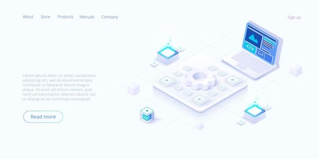 Página de destino isométrica de tecnologias digitais