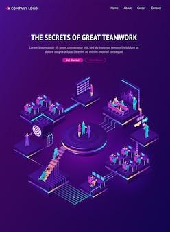 Página de destino isométrica de trabalho em equipe, estratégia de trabalho em equipe