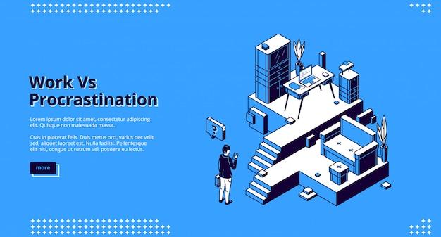 Página de destino isométrica de trabalho versus procrastinação