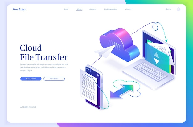 Página de destino isométrica de transferência de arquivos em nuvem