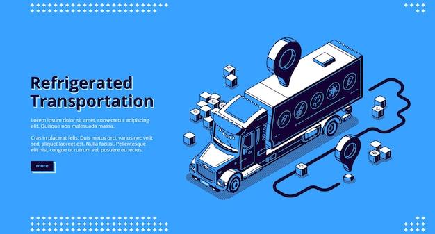 Página de destino isométrica de transporte refrigerado, serviço de entrega de caminhão.