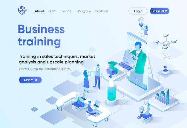 Página de destino isométrica de treinamento de negócios. coaching e mentoring, cursos profissionais, desenvolvimento de habilidades. modelo de webinar on-line para cms e criador de sites. cena de isometria com caracteres de pessoas.