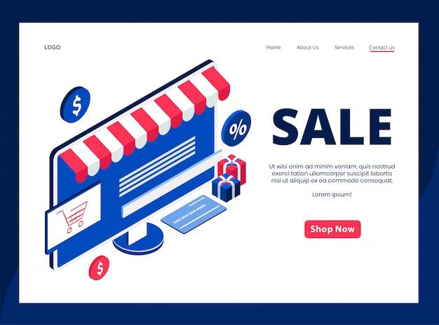 Página de destino isométrica de venda