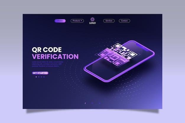 Página de destino isométrica de verificação de código qr