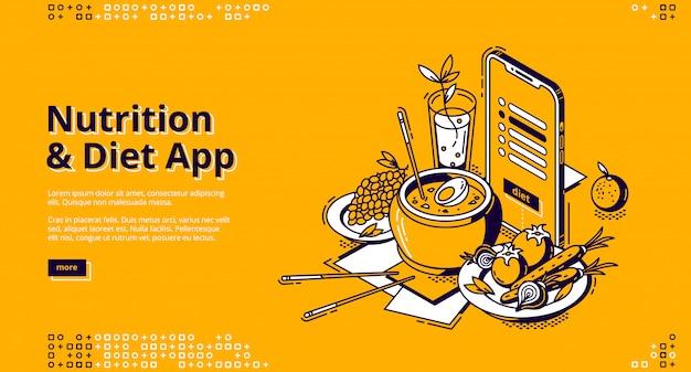 Página de destino isométrica do aplicativo de nutrição e dieta