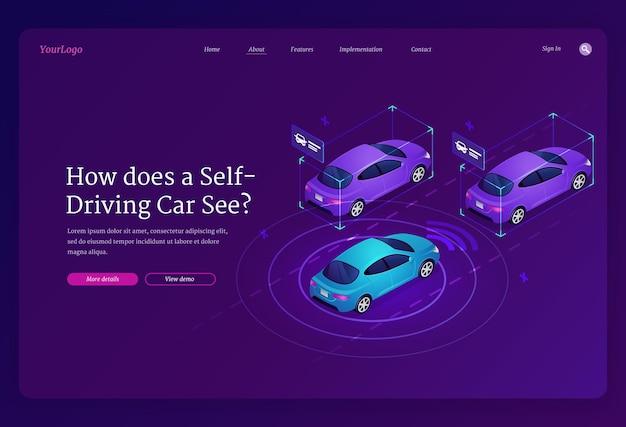 Página de destino isométrica do carro autodirigido. veículo autônomo com tecnologias de scanner e radar, sistema de transporte automático, automóveis futuristas inteligentes sem motorista na estrada.