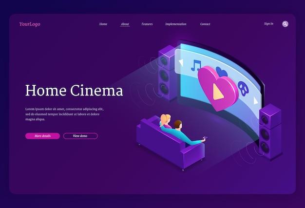 Página de destino isométrica do cinema em casa