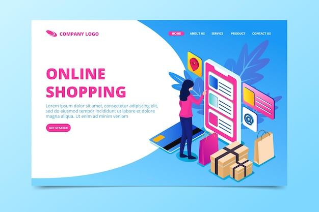 Página de destino isométrica do comércio eletrônico