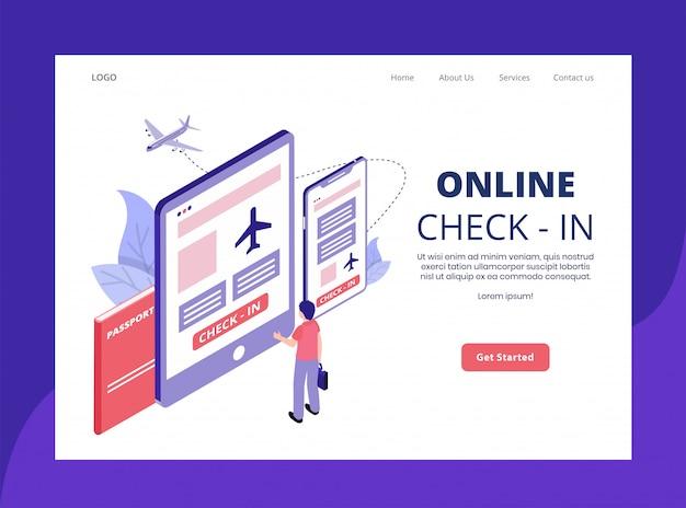 Página de destino isométrica do conceito de check-in on-line