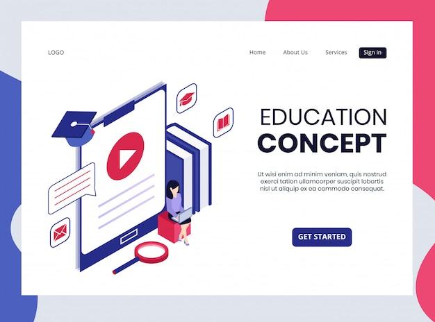 Página de destino isométrica do conceito de educação