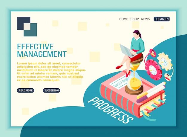 Página de destino isométrica do conceito de gerenciamento eficaz com ícones editáveis de pictograma de botões clicáveis de texto e imagens conceituais