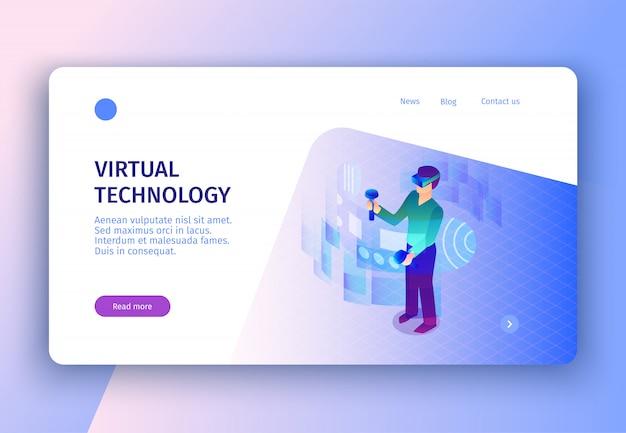 Página de destino isométrica do conceito de realidade virtual com links clicáveis de imagens, leia mais botão