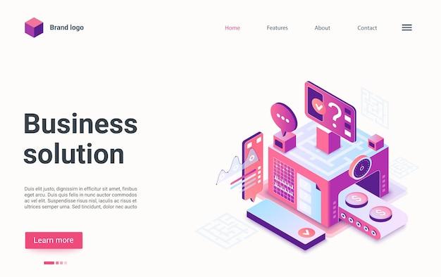 Página de destino isométrica do conceito de solução de negócios
