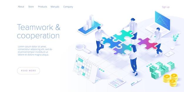 Página de destino isométrica do conceito de trabalho em equipe