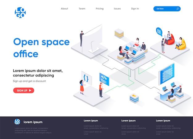 Página de destino isométrica do escritório em espaço aberto