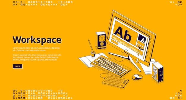 Página de destino isométrica do espaço de trabalho
