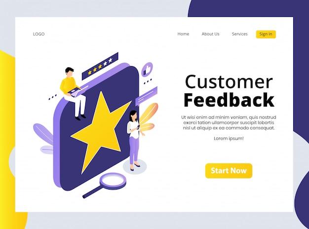 Página de destino isométrica do feedback do cliente