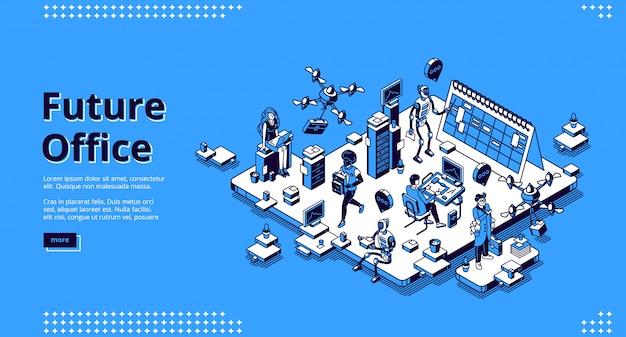 Página de destino isométrica do futuro escritório. robôs humanos e ai trabalham juntos.