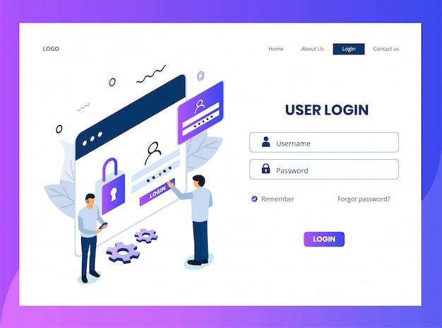 Página de destino isométrica do logon do usuário