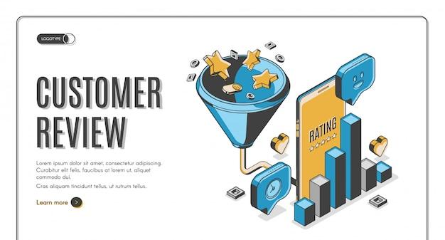 Página de destino isométrica do melhor resultado da revisão do cliente