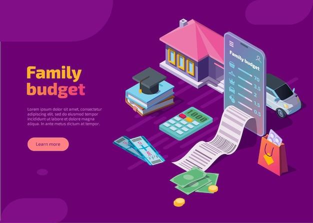 Página de destino isométrica do orçamento familiar.
