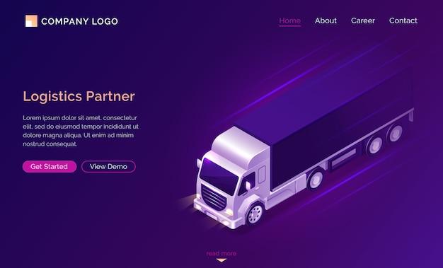 Página de destino isométrica do parceiro logístico