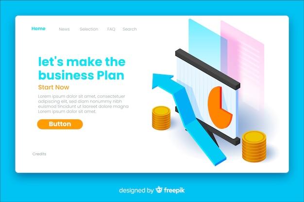 Página de destino isométrica do plano de negócios
