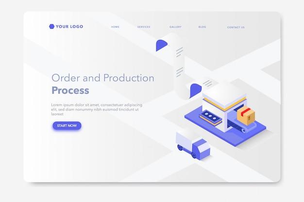 Página de destino isométrica do processo de produção e embalagem ou modelo da web