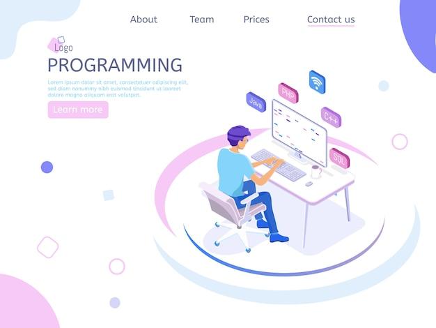 Página de destino isométrica do programador
