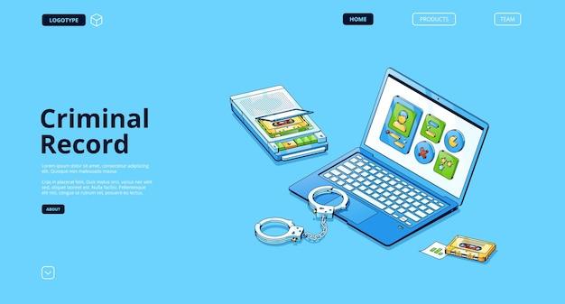 Página de destino isométrica do registro criminal
