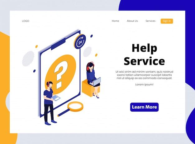 Página de destino isométrica do serviço de ajuda