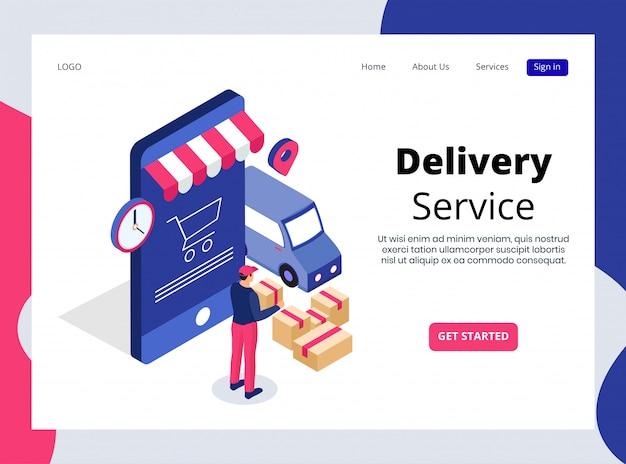 Página de destino isométrica do serviço de entrega