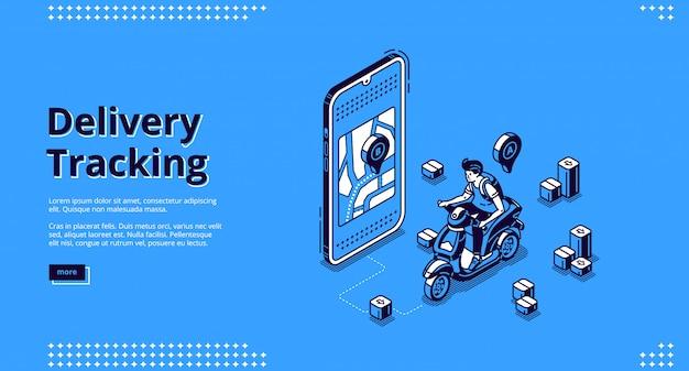 Página de destino isométrica do serviço de rastreamento de entregas