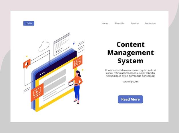 Página de destino isométrica do sistema de gerenciamento de conteúdo