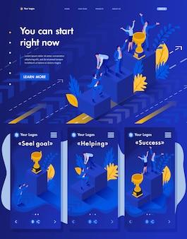 Página de destino isométrica do site da start to grow and successful now, concept business
