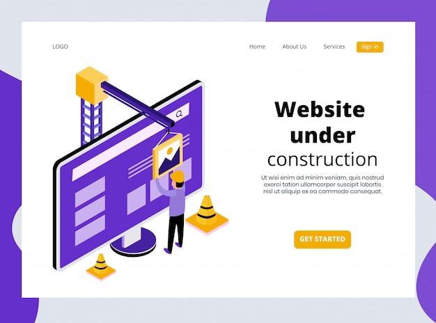 Página de destino isométrica do site em construção modelo premium