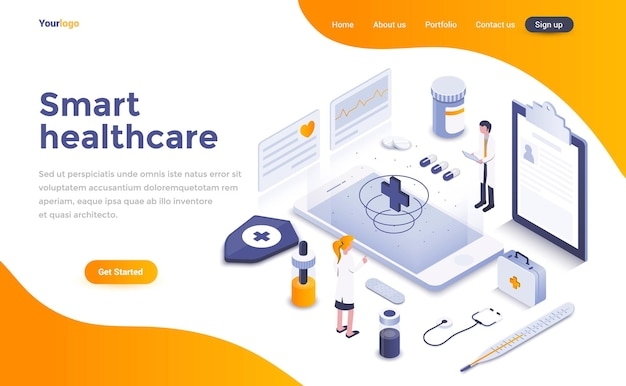 Página de destino isométrica do smart healthcare