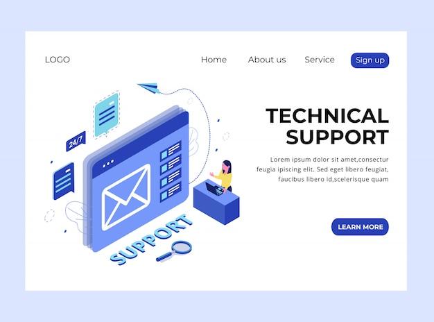Página de destino isométrica do suporte técnico
