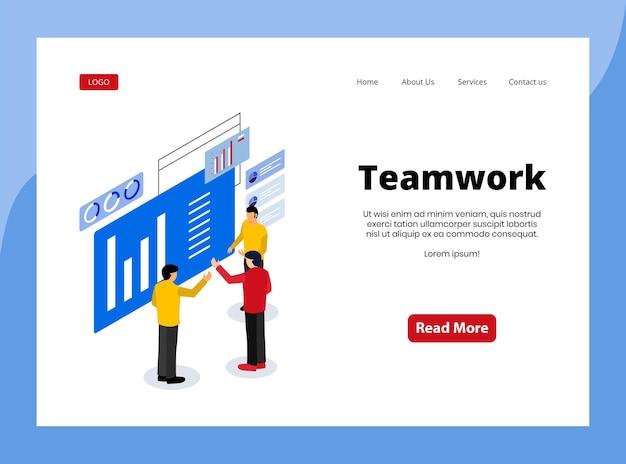Página de destino isométrica do trabalho em equipe