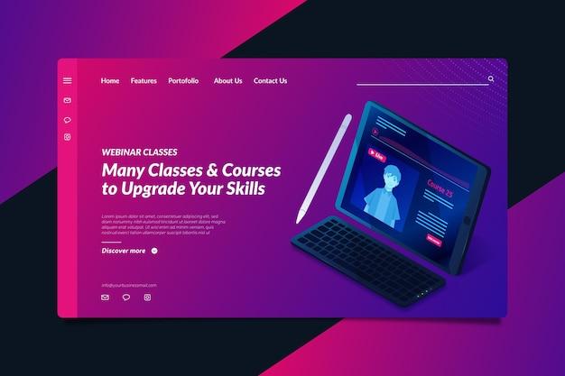 Página de destino isométrica do webinar